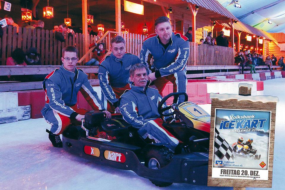 Superkart-Team/Reifen Tanski rutscht  auf das Podium