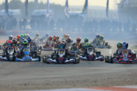 Kart-Rennfahrer in Aktion